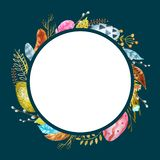 Watercolor frame with elements of happy Easter holiday stock illustration