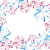 Watercolor frame for Fireworks festival. Holidays, 4th of July, United Stated independence day. Design for print, card. Banner Stock Photo
