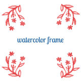 Watercolor frame of flowers, stems and branches Royalty Free Stock Photo