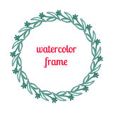 Watercolor frame of flowers, stems and branches Royalty Free Stock Images