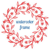 Watercolor frame of flowers, stems and branches Stock Photo