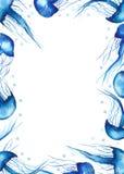 Watercolor frame with jellyfish, splashing water. stock illustration