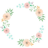 Watercolor Frame Leaves Circle Flowers Spring Summer Berry Leaf Stock Photos