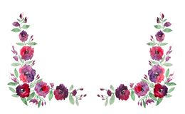 Floral Frame In Watercolor Stock Photos
