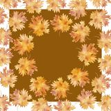 Watercolor frame square colorful autumn maple leaves in a round dance, isolated on a white background, with space for text. Flower pattern for beautiful royalty free illustration