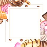 Watercolor frame with sweets. royalty free illustration
