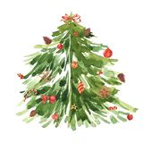Watercolor freehand illustration of grunge Christmas tree on white background. royalty free illustration