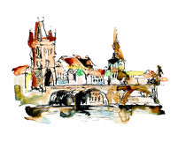 Watercolor freehand sketch drawing of Prague Czech Republic top Stock Photos