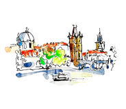 Watercolor freehand sketch drawing of Prague Czech Republic top Stock Images