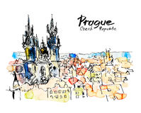 Watercolor freehand sketch drawing of Prague Czech Republic top Stock Image