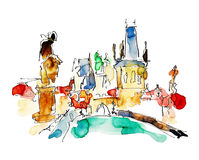 Watercolor freehand sketch drawing of Prague Czech Republic top Stock Photography