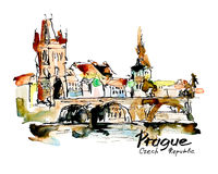 Watercolor freehand sketch drawing of Prague Czech Republic top Royalty Free Stock Image