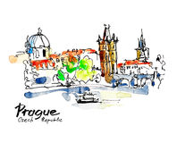 Watercolor freehand sketch drawing of Prague Czech Republic top Royalty Free Stock Photography