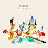 Watercolor freehand sketch drawing of Prague Czech Republic top Royalty Free Stock Images