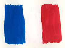 Watercolor french flag Stock Photography