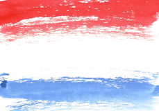 Watercolor french flag, abstract banner of France.  Royalty Free Stock Photography