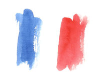 Watercolor french flag, abstract banner of France Royalty Free Stock Photos