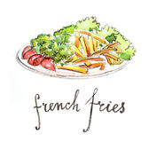 Watercolor french fries Royalty Free Stock Images