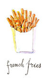 Watercolor french fries Royalty Free Stock Image