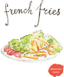 Watercolor french fries Stock Photo