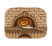 Watercolor fresh loaf of bread and a oven royalty free illustration