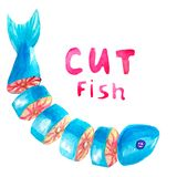 Watercolor fresh whole fish cut into pieces lies semicircle with the text Cut  fish on a white background isolated for signs, stock image