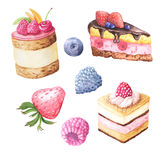 Watercolor fruit cake and berries. Watercolor hand painted sweet and tasty cake with raspberries, blueberry and other berries. Fruit dessert can be used for card vector illustration