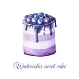 Watercolor fruit cake. Watercolor hand painted sweet and tasty cake with blueberry and cream on it.  Fruit dessert can be used for card, postcard, wedding card Stock Photography