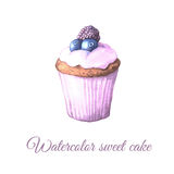 Watercolor fruit cake. Watercolor hand painted sweet and tasty cake with blueberry and cream on it. Fruit dessert can be used for card, postcard, wedding card Royalty Free Stock Photography