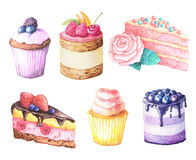 Watercolor fruit cake. Watercolor hand painted sweet and tasty cake with raspberries, cherry and other berries on it. Fruit dessert can be used for card vector illustration