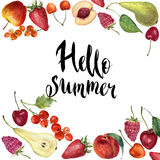 Watercolor fruit frame card. Hand painted border with fruit, berries and lettering Hello summer isolated on white background. Bota Royalty Free Stock Photography
