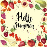 Watercolor fruit frame card Hello summer. Hand painted border with fruit and berries. Botanical design. For print, background and Royalty Free Stock Photo
