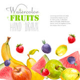 Watercolor fruits background. Organic food banner. Royalty Free Stock Image