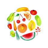 Watercolor fruits and vegetables. Royalty Free Stock Images