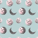 Full and half moon watercolor illustrations. Moon phases seamless pattern. Cosmos print in vintage style on blue background royalty free illustration