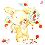 Watercolor Funny bunny. Toy bunny.  background for kid. Stock Image