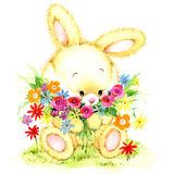 Watercolor Funny bunny. Toy bunny.  background for kid. Stock Photo