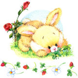Watercolor Funny bunny. Toy bunny. background for kid. vector illustration