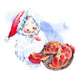 Watercolor funny Santa Claus rwith pizza Stock Photo