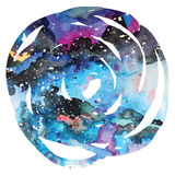 Watercolor galaxy background. Royalty Free Stock Photography