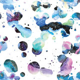 Watercolor galaxy background. Stock Photo