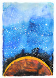 Watercolor galaxy illustration. Planet Mars. Royalty Free Stock Images