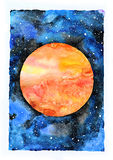 Watercolor galaxy illustration. Planet Mars. Watercolor galaxy illustration. Raster trendy modern illustration Royalty Free Stock Photo