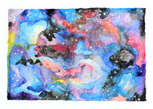 Watercolor galaxy illustration. Stock Photos
