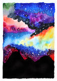 Watercolor galaxy illustration. Raster trendy modern illustration Royalty Free Stock Photo