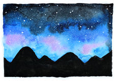 Watercolor galaxy illustration. Raster trendy modern illustration Royalty Free Stock Photography