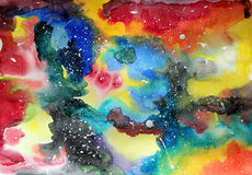 Watercolor galaxy illustration. Stock Photo