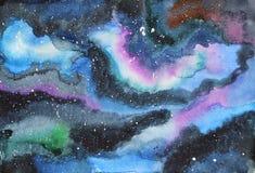 Watercolor galaxy illustration. Royalty Free Stock Photos