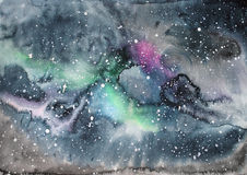 Watercolor galaxy illustration. Raster trendy modern illustration Stock Image