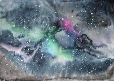 Watercolor galaxy illustration. Stock Image
